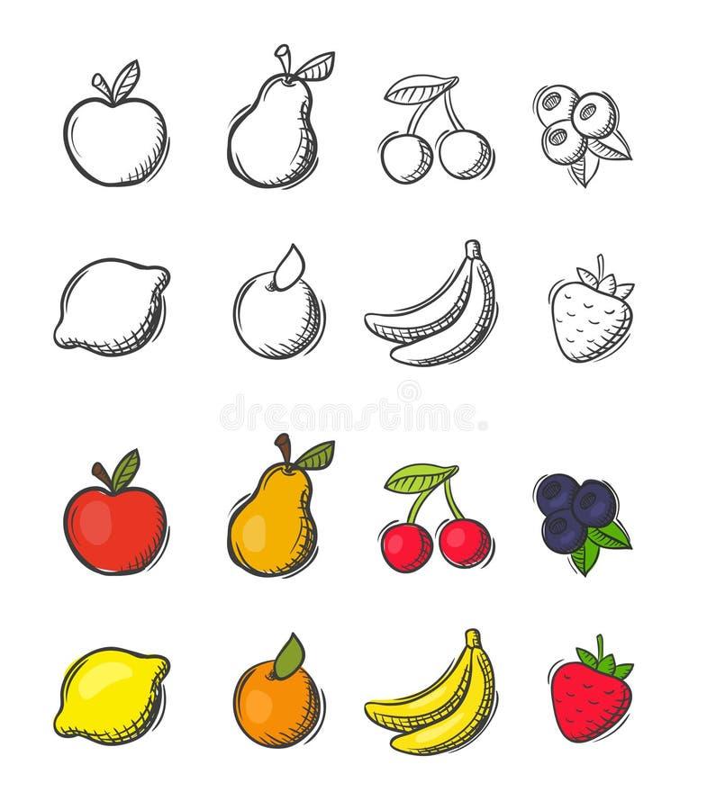 Raccolta delle icone scarabocchiate a mano libera della frutta di vettore royalty illustrazione gratis