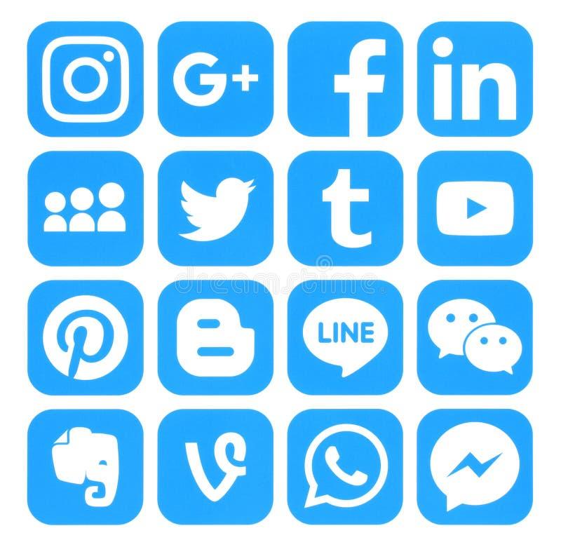 Raccolta delle icone sociali blu popolari di media