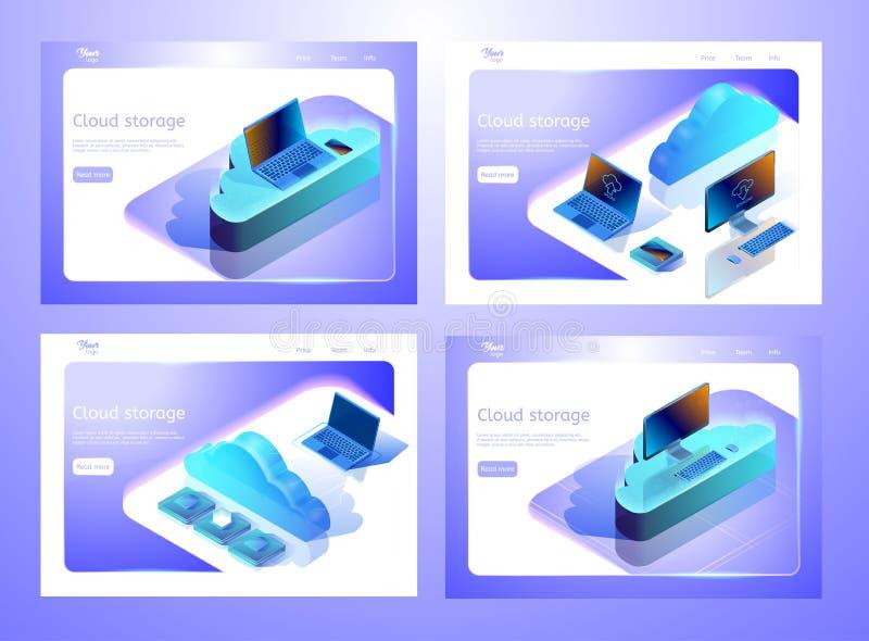 Raccolta delle illustrazioni isometriche di archiviazione di dati della nuvola Insieme dei modelli della pagina Web Concetto di p illustrazione vettoriale