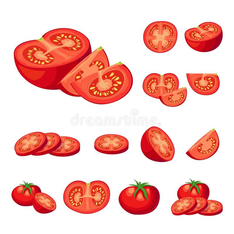 Raccolta delle illustrazioni rosse di vettore dei pomodori del taglio fresco Pomodoro mezzo, una fetta di pomodoro, pomodoro cili royalty illustrazione gratis