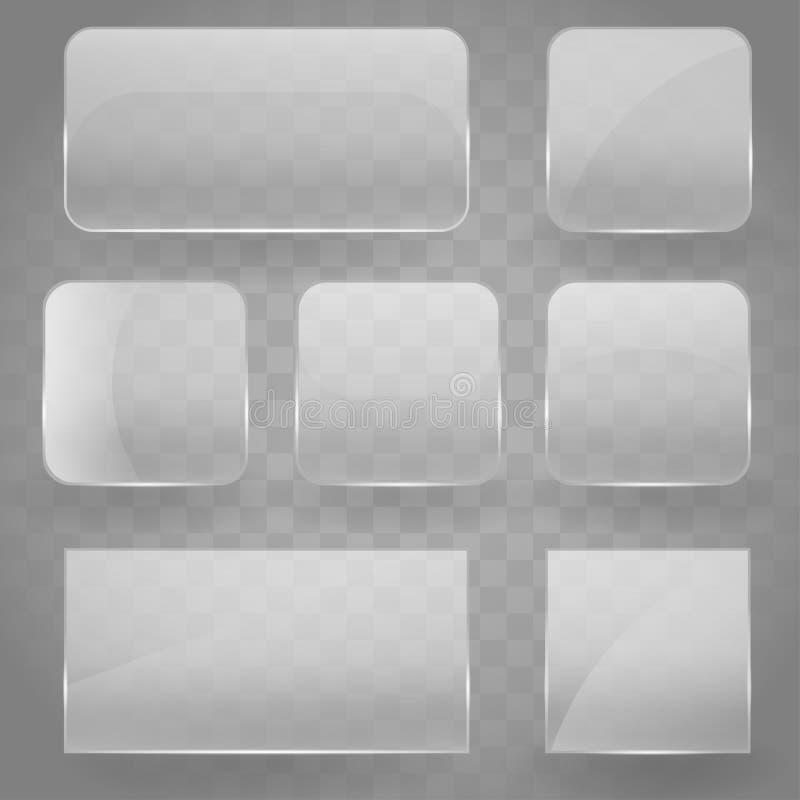 Raccolta delle insegne di vetro quadrate di riflessione trasparenti con gli angoli arrotondati e l'effetto di riflessione di luce illustrazione vettoriale