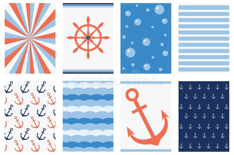 Raccolta delle insegne nello stile marino illustrazione vettoriale