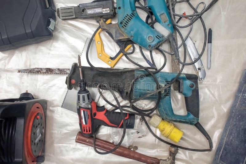 Raccolta delle macchine utensili utilizzate, attrezzatura di riparazione di DIY immagine stock