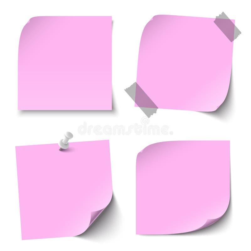 Raccolta delle note appiccicose colorate spazio in bianco illustrazione vettoriale