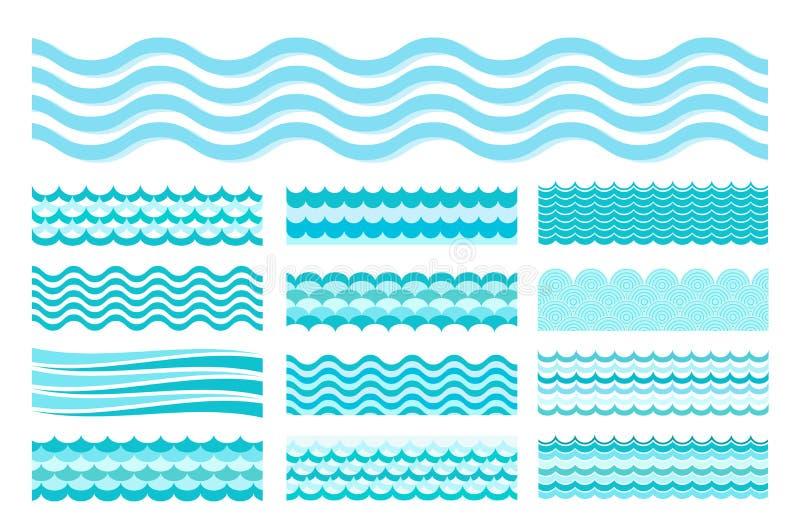 Raccolta delle onde marine Progettazione dell'acqua di arte del mare ondulato, oceano immagini stock libere da diritti