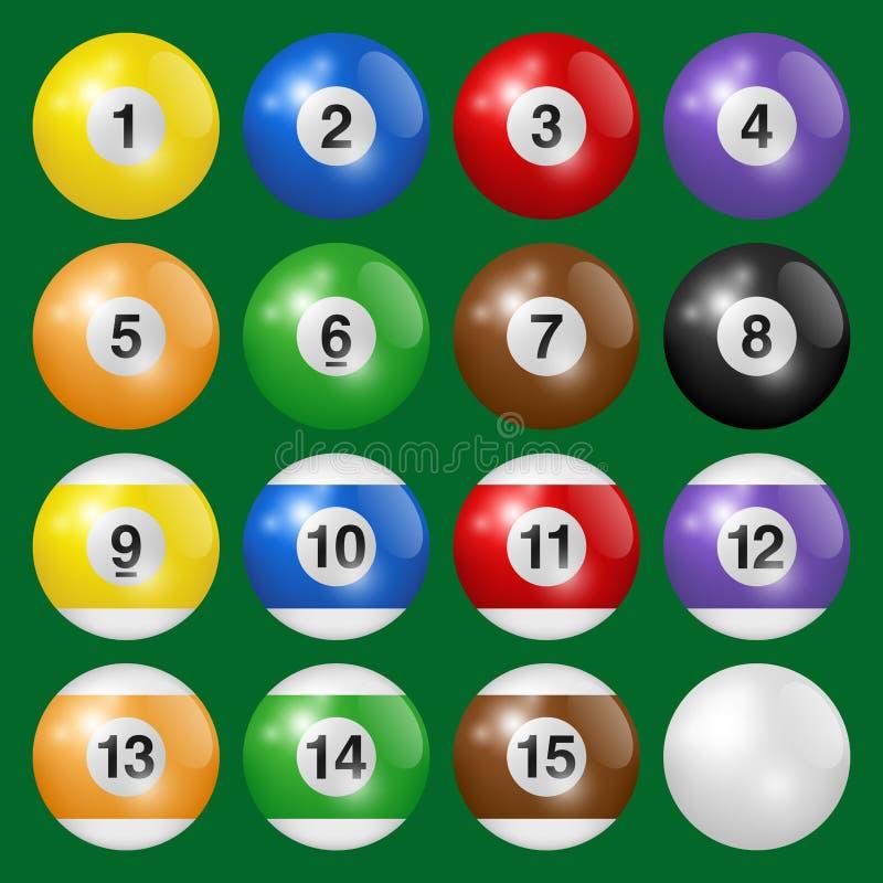 Raccolta delle palle del biliardo, dello stagno e dello snooker Metta delle palle da biliardo isolate su fondo verde Illustrazion royalty illustrazione gratis