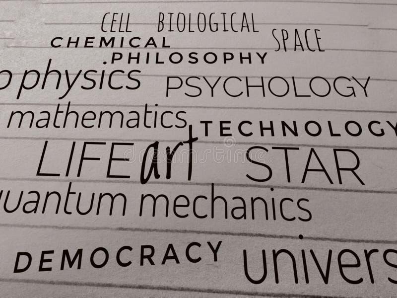 Raccolta delle parole di scienza su carta fotografia stock libera da diritti