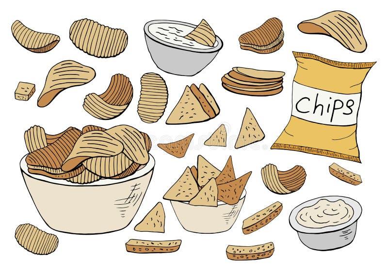 Raccolta delle patatine fritte di vettore isolata su fondo bianco illustrazione di stock