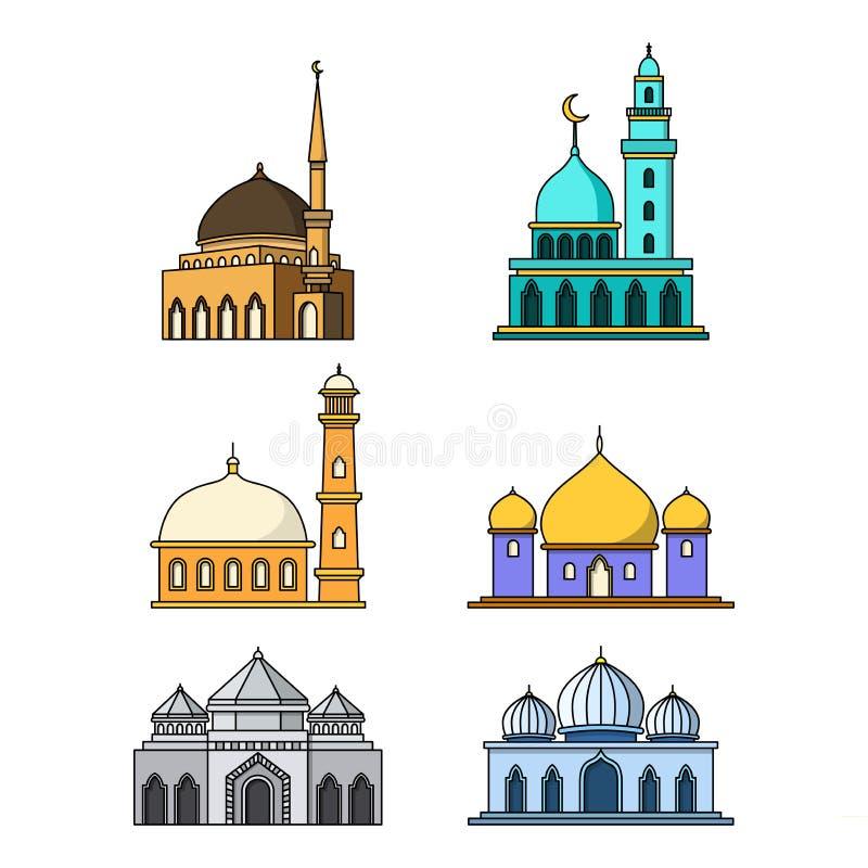 Raccolta delle progettazioni della costruzione della moschea royalty illustrazione gratis