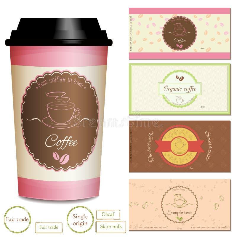 Raccolta delle progettazioni di logo e dell'etichetta della caffetteria illustrazione vettoriale