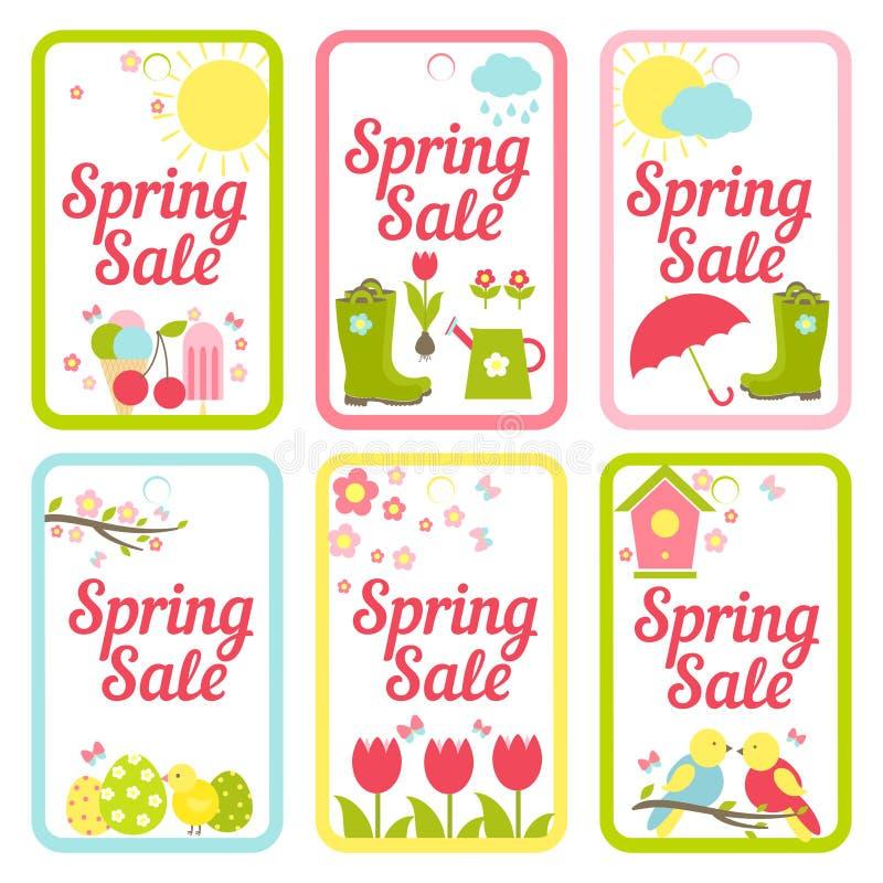 Raccolta delle progettazioni per i segni di vendita della primavera royalty illustrazione gratis