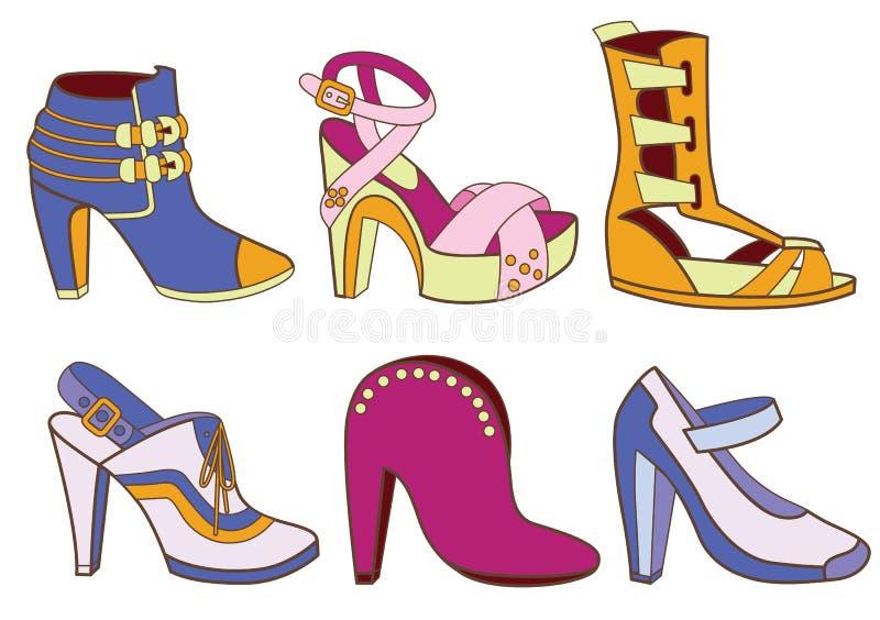 Raccolta delle scarpe delle donne alla moda illustrazione vettoriale