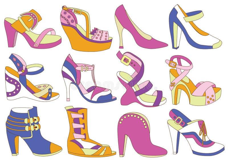 Raccolta delle scarpe delle donne alla moda royalty illustrazione gratis