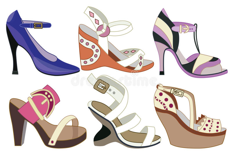 Raccolta delle scarpe delle donne alla moda illustrazione di stock