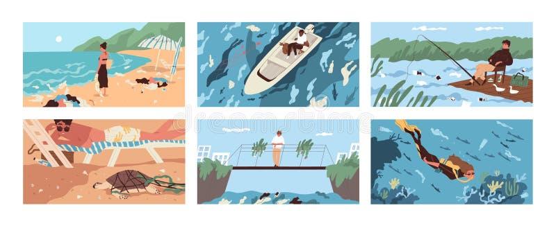 Raccolta delle scene con immondizia e detriti di plastica che galleggiano nel mare, nell'oceano, nel lago o nel fiume o sparso lu royalty illustrazione gratis