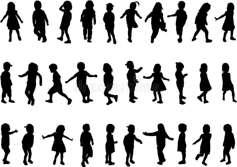 Raccolta delle siluette dei bambini royalty illustrazione gratis
