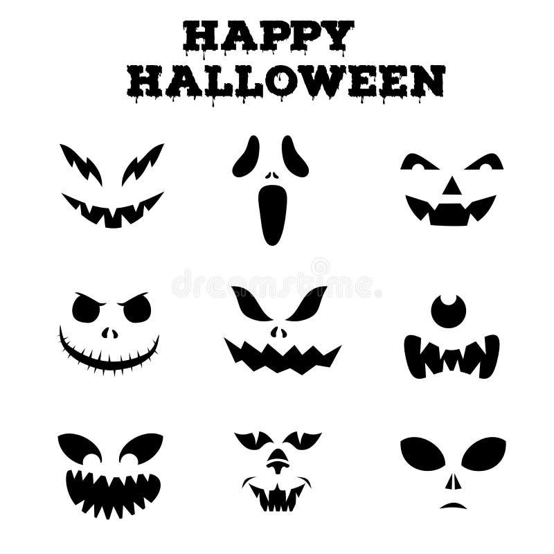 Raccolta delle siluette dei fronti scolpite zucche di Halloween Immagini in bianco e nero Illustrazione di vettore fotografie stock libere da diritti