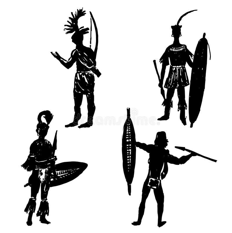 Raccolta delle siluette dei guerrieri tribali africani nel vestito di battaglia e nell'illustrazione disegnata a mano di armi illustrazione di stock