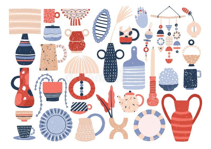 Raccolta delle terrecotte della famiglia e delle terraglie ceramiche d'avanguardia - tazze, piatti, ciotole, vasi, tazze Pacco de royalty illustrazione gratis