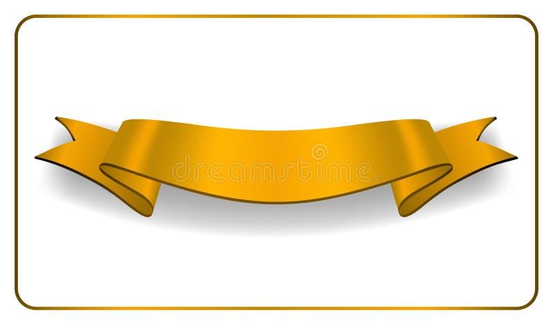 Raccolta dello spazio in bianco del raso dell'insegna dell'oro del nastro illustrazione vettoriale