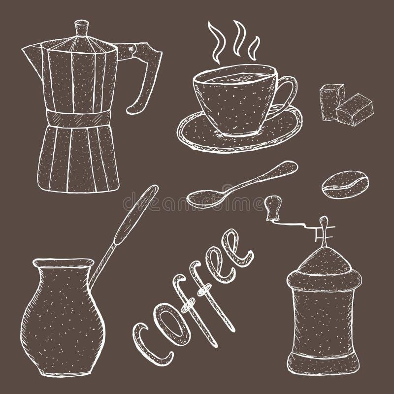 Raccolta dello strumento di schizzo del caffè, disegno della mano, stile d'annata illustrazione di vettore; royalty illustrazione gratis