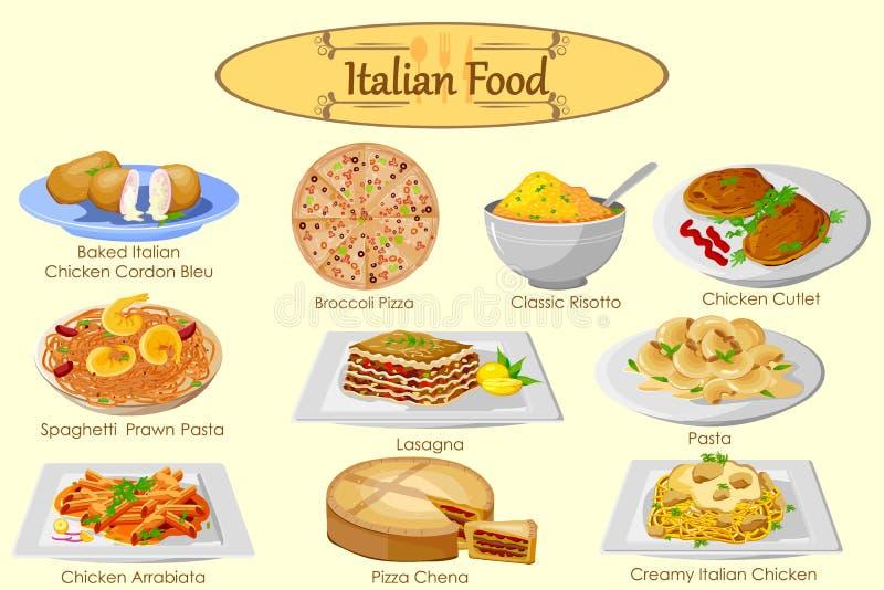 Raccolta di alimento italiano delizioso illustrazione vettoriale