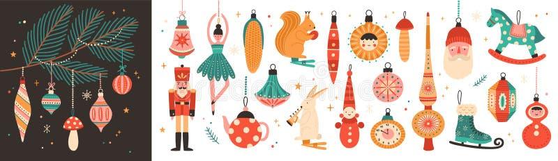 Raccolta di belle bagattelle e decorazioni per l'albero di Natale Metta degli ornamenti di festa Figure degli animali, Santa illustrazione di stock