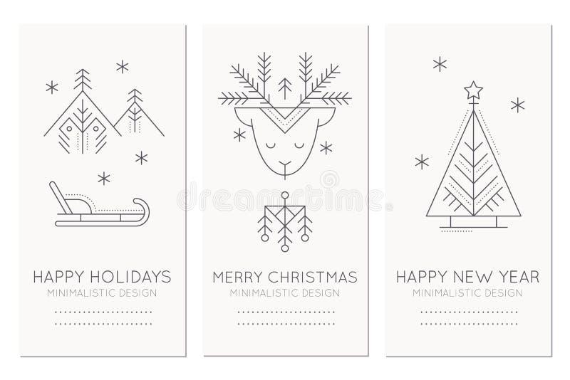 Raccolta di cartolina d'auguri di Natale e del nuovo anno? illustrazione di stock