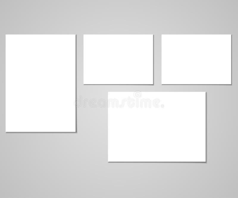 Raccolta di chiare liste di carta sui precedenti grigi Illustrazione di vettore illustrazione vettoriale