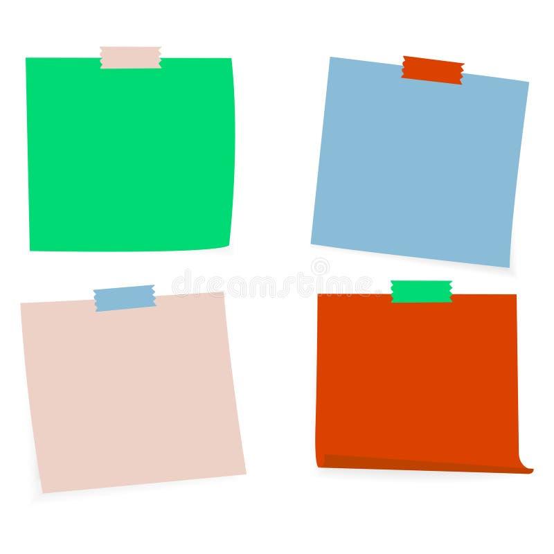 Raccolta di chiare liste di colore di carta con il nastro adesivo sui precedenti bianchi Illustrazione di vettore illustrazione vettoriale