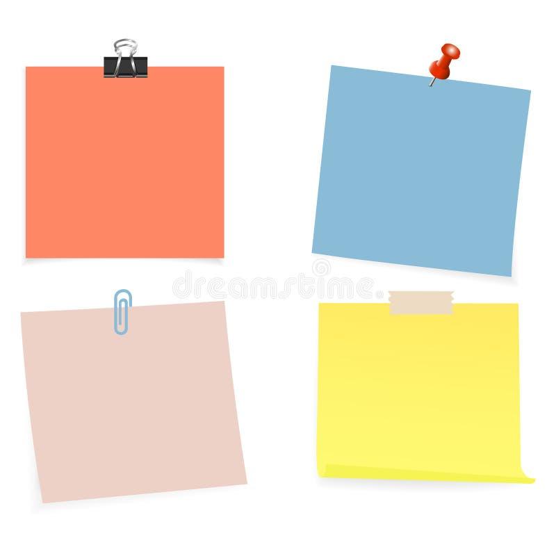 Raccolta di chiare liste di colore di carta con il perno e del nastro adesivo sui precedenti bianchi Illustrazione di vettore illustrazione di stock