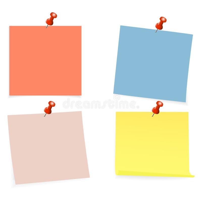 Raccolta di chiare liste di colore di carta con il perno sui precedenti bianchi Illustrazione di vettore royalty illustrazione gratis