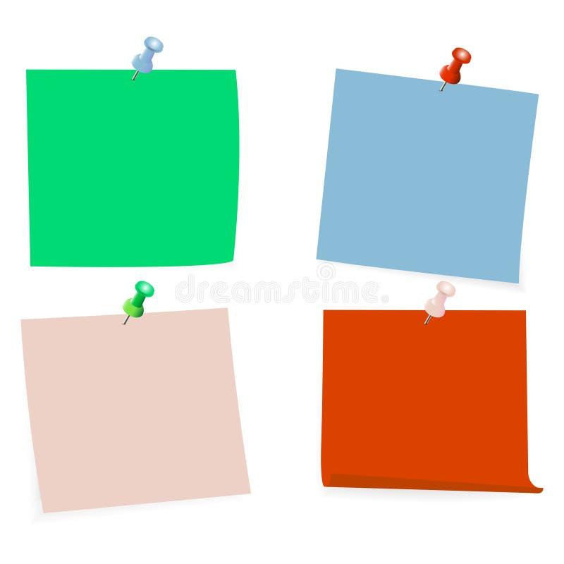 Raccolta di chiare liste di colore di carta con il perno sui precedenti bianchi Illustrazione di vettore illustrazione di stock