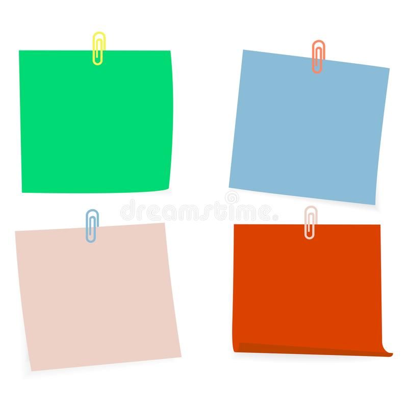 Raccolta di chiare liste di colore di carta con il perno sui precedenti bianchi Illustrazione di vettore illustrazione vettoriale
