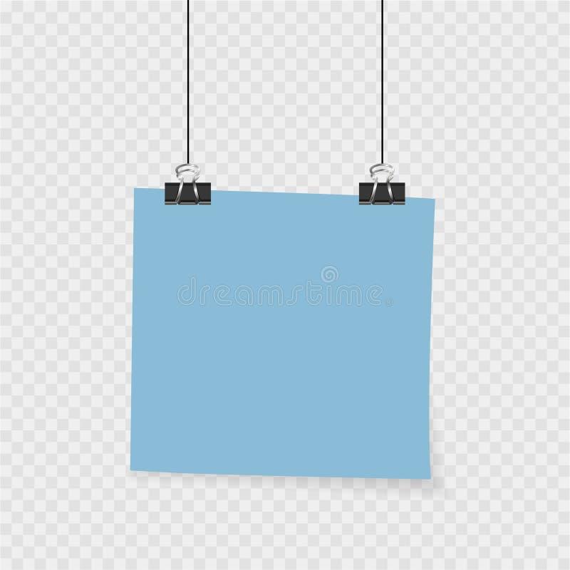 Raccolta di chiare liste di colore di carta con il perno sui precedenti grigi illustrazione vettoriale