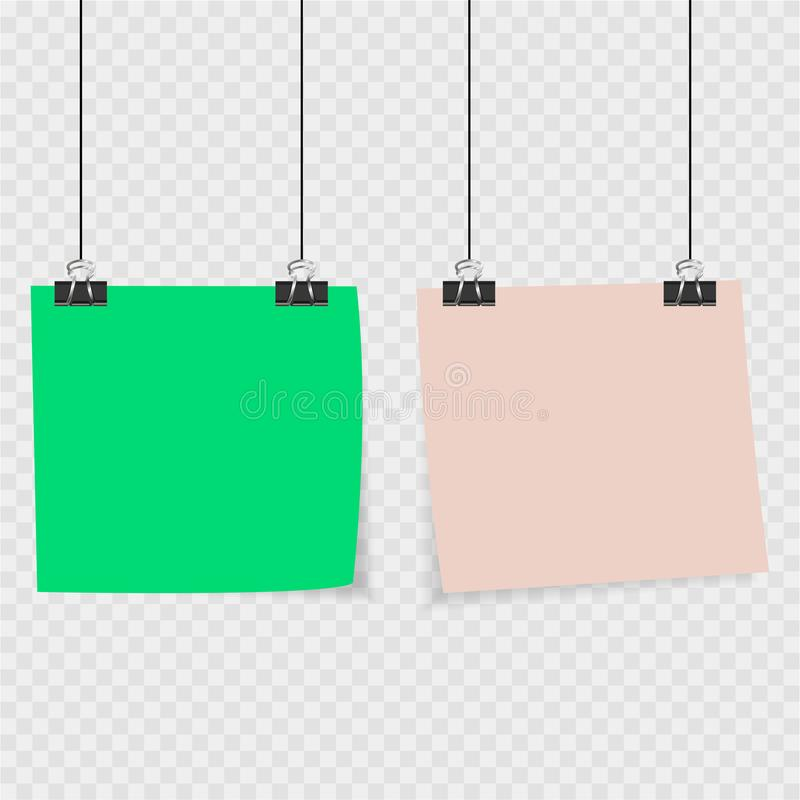 Raccolta di chiare liste di colore di carta con il perno sui precedenti grigi illustrazione di stock
