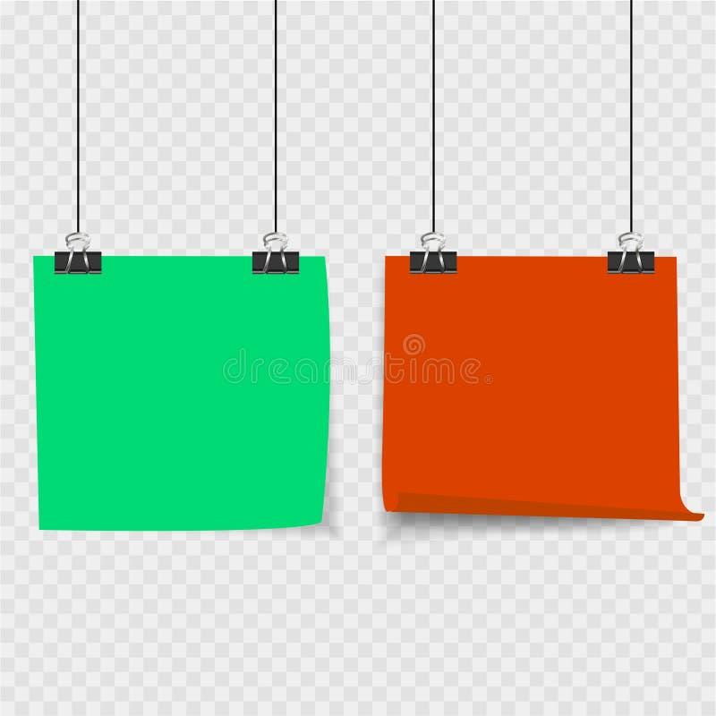 Raccolta di chiare liste di colore di carta con il perno sui precedenti grigi royalty illustrazione gratis