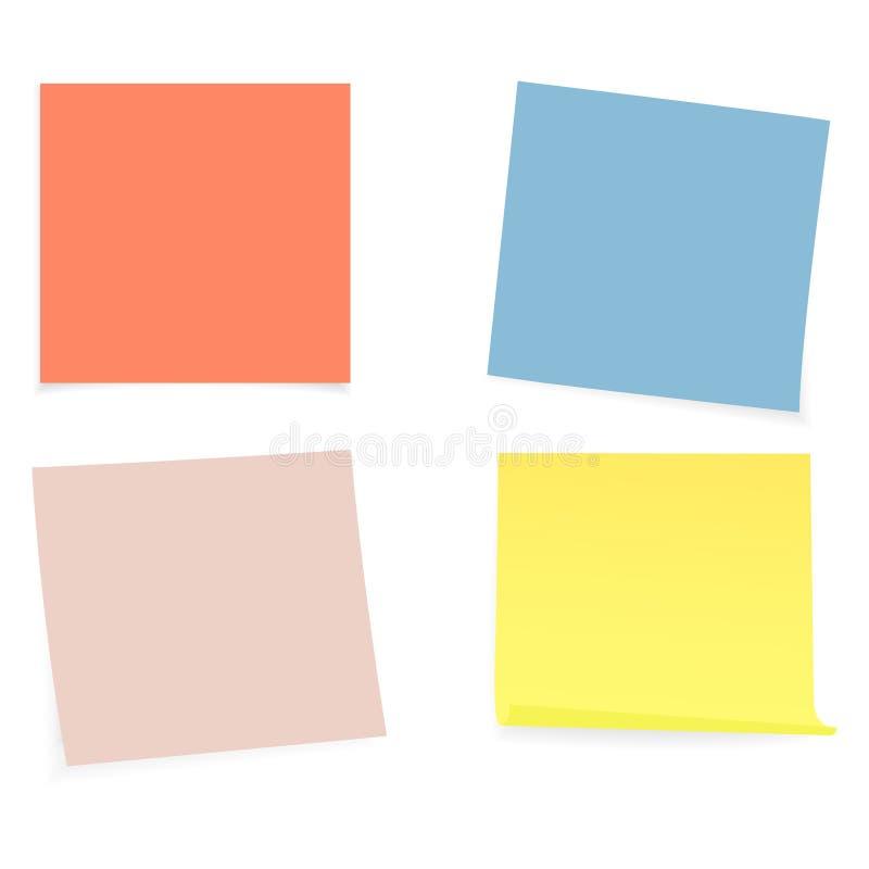 Raccolta di chiare liste di colore di carta sui precedenti bianchi Illustrazione di vettore illustrazione di stock