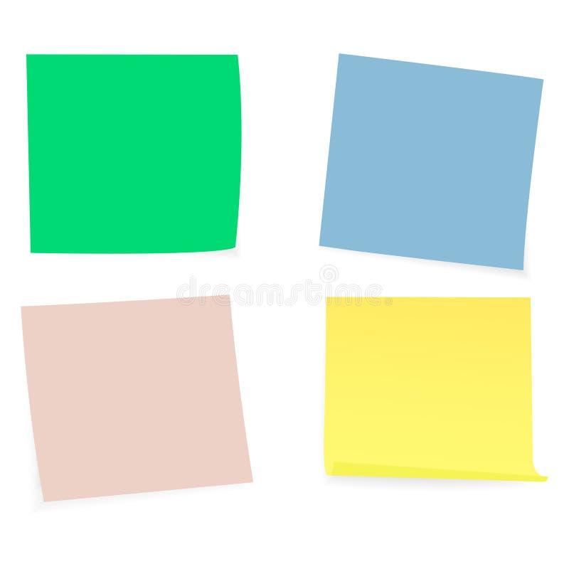 Raccolta di chiare liste di colore di carta sui precedenti bianchi Illustrazione di vettore royalty illustrazione gratis