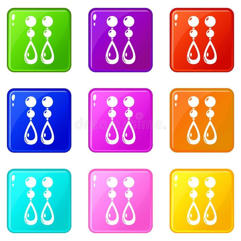 Raccolta di colore dell'insieme 9 delle icone degli orecchini della perla royalty illustrazione gratis