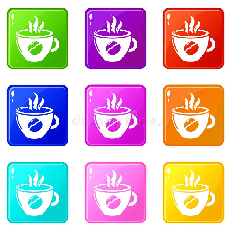 Raccolta di colore dell'insieme 9 delle icone del caffè della tazza illustrazione di stock