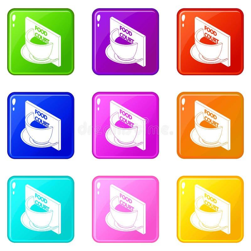 Raccolta di colore dell'insieme 9 delle icone della corte di alimento royalty illustrazione gratis