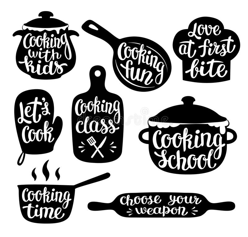 Raccolta di cottura etichetta o del logo Passi l'iscrizione scritta, calligrafia che cucina l'illustrazione di vettore illustrazione di stock