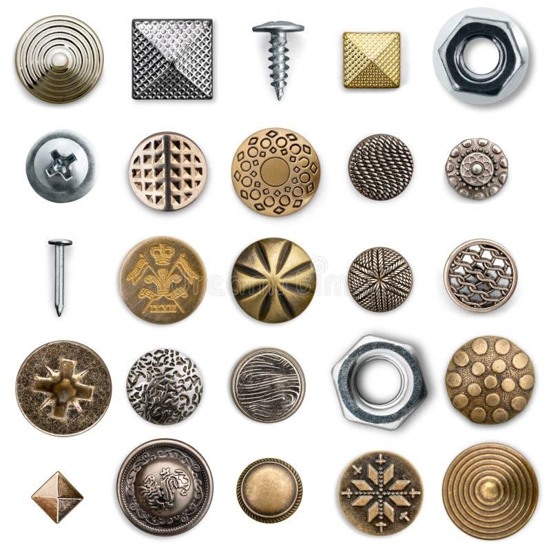 Raccolta di cucito dei bottoni del metallo d'annata fotografie stock
