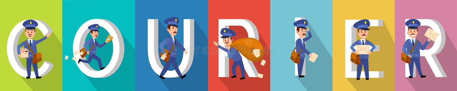 Raccolta di Delivery Character Colourful del CORRIERE illustrazione di stock