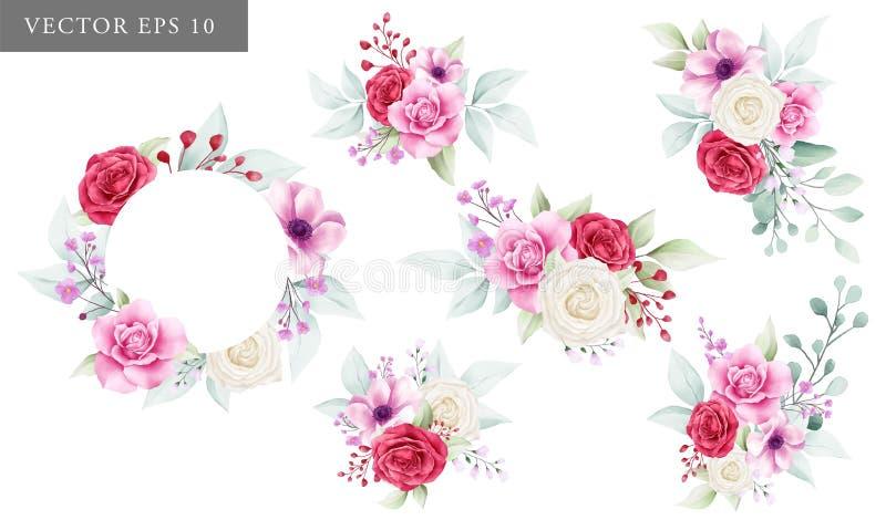 Raccolta di disposizioni di fiori per il compositon dell'invito di nozze illustrazione di stock