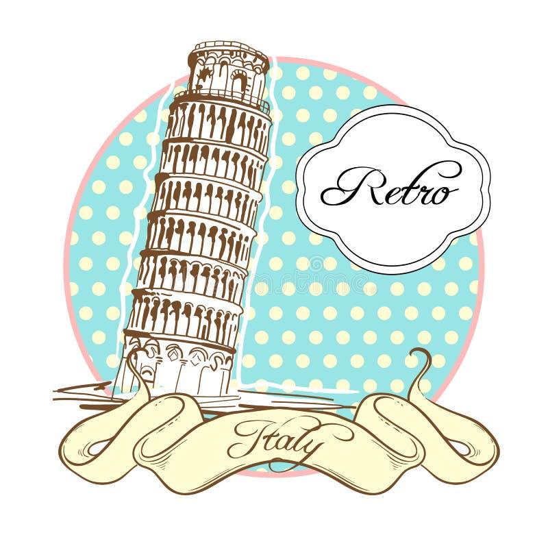Raccolta di fama mondiale del punto di riferimento nel retro stile L'Italia pisa La torretta di inclinzione di Pisa Illustrazione royalty illustrazione gratis