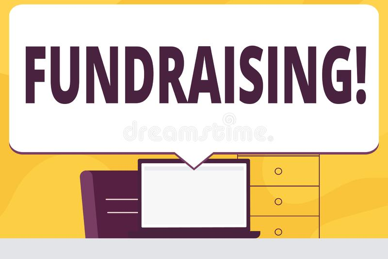 Raccolta di fondi del testo di scrittura di parola Concetto di affari per la ricerca del contributo finanziario per causa di cari illustrazione di stock