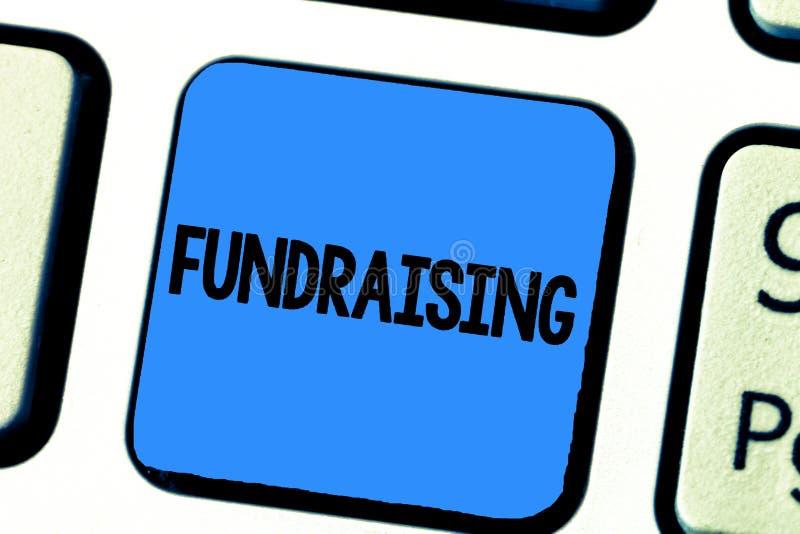 Raccolta di fondi di scrittura del testo della scrittura Ricerca di significato di concetto del contributo finanziario per causa  immagine stock libera da diritti