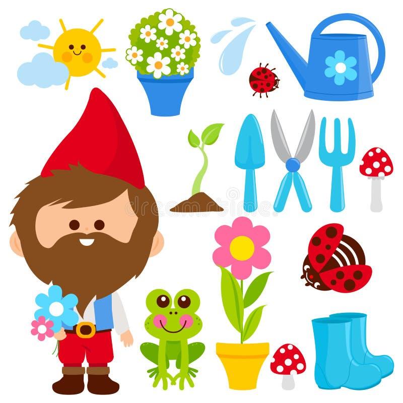 Raccolta di giardinaggio dell'illustrazione della primavera con lo gnomo del giardino illustrazione di stock